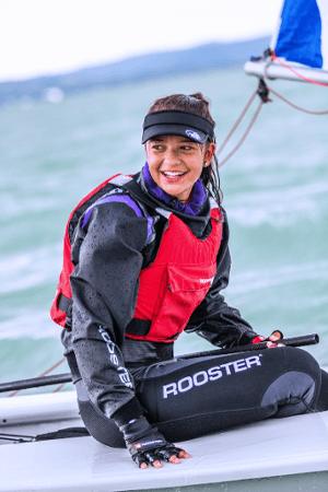 Girl sailing having fun